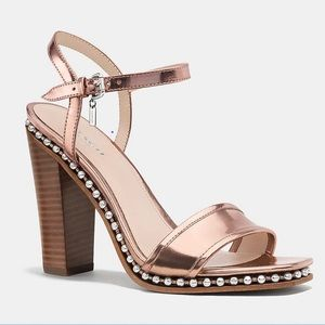 COACH Farrah Mirror Metallic Rose Gold Heels